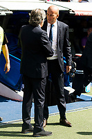 Real Madrid's coach Zinedine Zidane and Osasuna coach Enrique Martin Monreal shake hands before the match of La Liga Santander at Santiago Bernabeu Stadium in Madrid. September 10, Spain. 2016. (ALTERPHOTOS/BorjaB.Hojas)