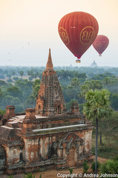 Ballooning over Bagan ancient Buddhist temples, Burma