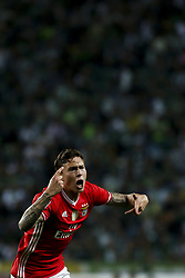 April 22, 2017 - Lisbon, Portugal - Benfica's Swedish defender Victor Lindelof celebrates after scoring a goal during the Portuguese League  football match between Sporting CP and SL Benfica at Jose Alvalade  Stadium in Lisbon on April 22, 2017. (Credit Image: © Carlos Costa/NurPhoto via ZUMA Press)