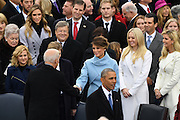 Vice President Joe Biden greets Melania Trump as he arrive for the 68th President Inaugural Ceremony on Capitol Hill January 20, 2017 in Washington, DC. Donald Trump became the 45th President of the United States in the ceremony.