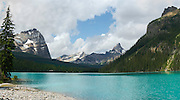Panoramic view of beautiful, remote Lake O'Hara in Yoho National Park, near Field, British Columbia, Canada