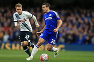 Cesar Azpilicueta of Chelsea goes past Christian Eriksen of Tottenham Hotspur. Barclays Premier league match, Chelsea v Tottenham Hotspur at Stamford Bridge in London on Monday 2nd May 2016.<br /> pic by Andrew Orchard, Andrew Orchard sports photography.