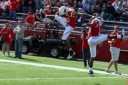 16 October 2010:  After a score by Tyrone Walker, he's joined by Erik Smith in the end zone for a brief celebration during a game where the North Dakota State Bison lost to the Illinois State Redbirds 34-24, meeting at Hancock Stadium on the campus of Illinois State University in Normal Illinois.
