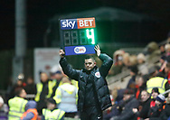 Fourth Official James Mainwaring indicates 4 minutes of added time during the EFL Sky Bet League 1 match between Fleetwood Town and Blackpool at the Highbury Stadium, Fleetwood, England on 25 November 2017. Photo by Paul Thompson.