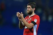 Danny Graham of Blackburn Rovers applauds the Blackburn fans at the end of the match.EFL Skybet championship match, Cardiff city v Blackburn Rovers at the Cardiff city stadium in Cardiff, South Wales on Wednesday 17th August 2016.<br /> pic by Andrew Orchard, Andrew Orchard sports photography.