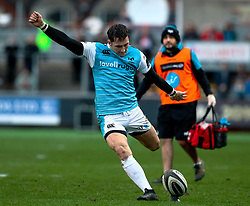 Sam Davies of Ospreys kicks a penalty <br /> <br /> Photographer Simon King/Replay Images<br /> <br /> Guinness PRO14 Round 12 - Dragons v Ospreys - Sunday 30th December 2018 - Rodney Parade - Newport<br /> <br /> World Copyright © Replay Images . All rights reserved. info@replayimages.co.uk - http://replayimages.co.uk