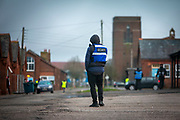 Private security guards patrol the barracks patrol over Asylum seekers inside Napier Barracks on the 5th of February 2021, Folkestone Kent. Over 400 asylum seekers are being kept at Napier Barracks in unsuitable, cold accommodation, they are experiencing mental health issues as well as being vulnerable to health conditions including COVID-19. 3 people living inside the barracks have attempted suicide in 2021 already.  (photo by Andrew Aitchison / In pictures via Getty Images)