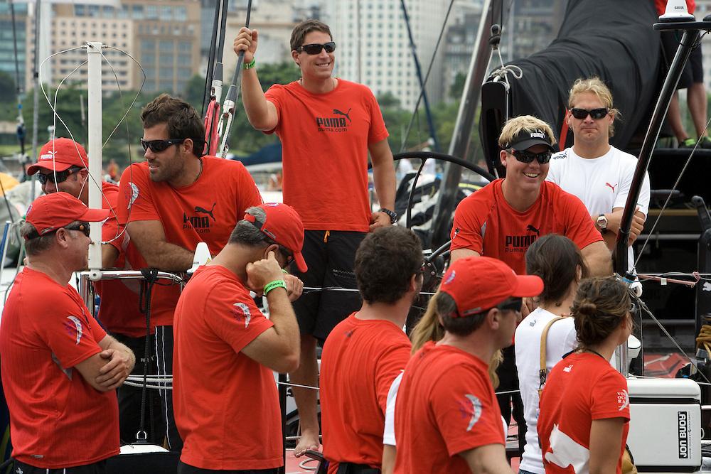 11APR09 Leg 6 Start , Rio de Janeiro to Boston. PUMA Ocean Racing leave the dock for the start of Leg 6 to Boston
