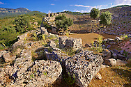 Kounos ampitheatre which could sit 5000 people. The theatre has hellanistic & Roman features . Kounos (Counos) Archaeological Site, Dalyan, Turkey .<br /> <br /> If you prefer to buy from our ALAMY PHOTO LIBRARY  Collection visit : https://www.alamy.com/portfolio/paul-williams-funkystock/dalyan-lycian-tombs-and-kaunos.html<br /> <br /> Visit our TURKEY PHOTO COLLECTIONS for more photos to download or buy as wall art prints https://funkystock.photoshelter.com/gallery-collection/3f-Pictures-of-Turkey-Turkey-Photos-Images-Fotos/C0000U.hJWkZxAbg