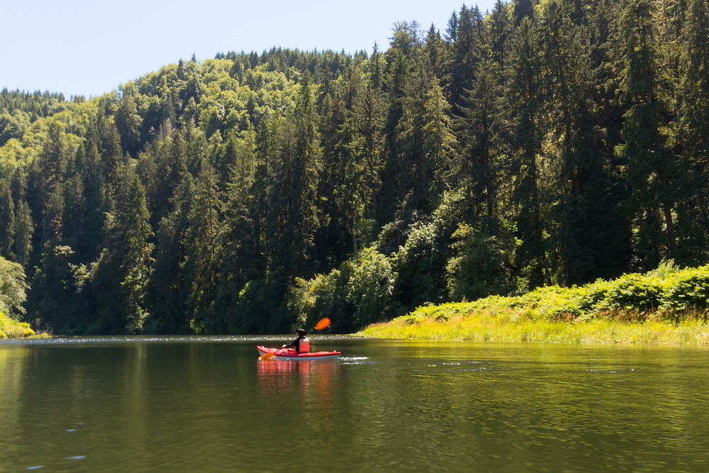 Kayaking on the Nehalem River, near Nehalem Oregon on the Oregon Coast