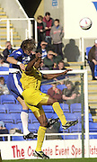 Reading, England, Nationwide Division One Football Reading v Preston North End,Reading's John Mackie [left] out jumps Ricardo Fuller the clear the ball, at the Madejski Stadium, on 18/10/2003 [Credit  Peter Spurrier/Intersport Images]..