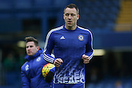 Chelsea's John Terry warms up before the Barclays Premier League match between Chelsea and Manchester United at Stamford Bridge, London, England on 7 February 2016. Photo by Ellie Hoad.