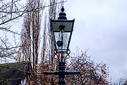A cast iron street light with a gas lantern in Nottingham's Park Estate. This is the largest surviving gas lit area in Europe with 220 lanterns<br /> <br /> (c) Andrew Wilson   Edinburgh Elite media