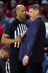 NORMAL, IL - January 19: Porter Moser appears to be trying to sell something to Bert Smith during a college basketball game between the ISU Redbirds and the Loyola University Chicago Ramblers on January 19 2020 at Redbird Arena in Normal, IL. (Photo by Alan Look)