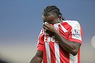 Victor Moses of Stoke City reacts following an injury that forced him off - Football - Barclays Premier League - Stoke City vs Burnley - Britannia Stadium Stoke - Season 2014/2015 - 22nd November 2015 - Photo Malcolm Couzens /Sportimage