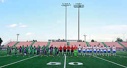 27 June 2015. New Orleans, Louisiana.<br /> National Premier Soccer League. NPSL. <br /> Jesters 1- Georgia Revolution 5.<br /> The New Orleans Jesters prepare to play the Georgia Revolution in the Pan American Stadium. <br /> Photo©; Charlie Varley/varleypix.com