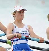 Eton. Great Britain.  GBR JW4-, Fri. Left to Right.  Anastasia Merlott CHITTY and Amber DEVERE, competing at the Eton Rowing Centre 2011 FISA Junior  World Rowing Championships. Dorney Lake, Nr Windsor. Friday, 05/08/2011  [Mandatory credit: Peter Spurrier Intersport Images]