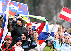 Young Fans at Qualification's 1st day of 32nd World Cup Competition of FIS World Cup Ski Jumping Final in Planica, Slovenia, on March 19, 2009. (Photo by Vid Ponikvar / Sportida)