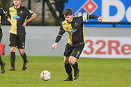 Marine midfielder Kenny Strickland (14) has a shot during the The FA Cup match between Marine and Tottenham Hotspur at Marine Travel Arena, Great Crosby, United Kingdom on 10 January 2021.
