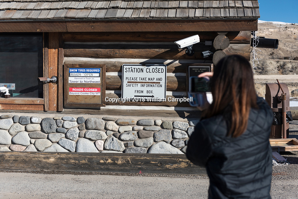 YELLOWSTONE NATIONAL PARK, MT-JANUARY 21-The entrance station to the north entrance  to Yellowstone National Park at Gardiner, MT is closed but <br /> visitors are allowed to enter the park with the understanding that there are no government services due to the government shutdown. (Photo by William Campbell/Corbis via Getty Images)