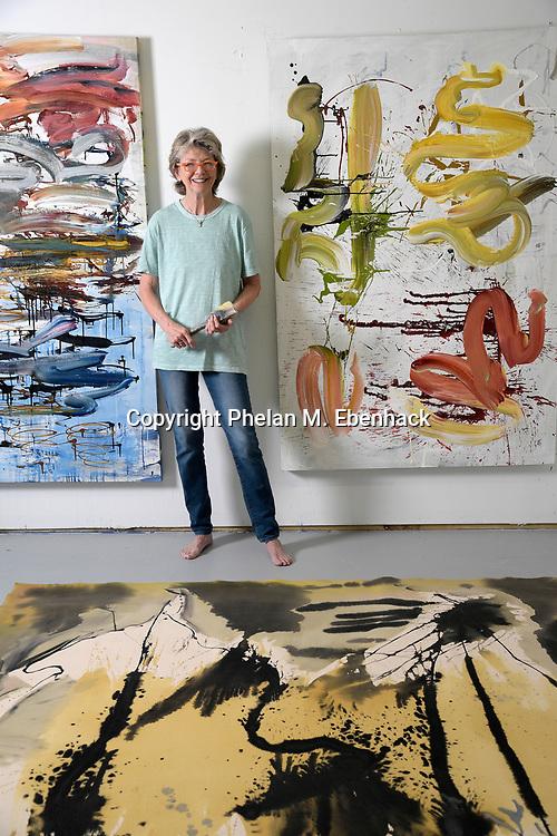 Artist Nancy Jay poses in her studio Thursday, Sept. 14, 2017, in Orlando, Fla. (Photo by Phelan M. Ebenhack)