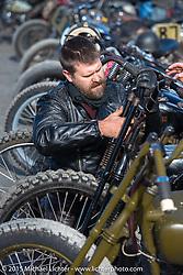 Matt Walksler and his 1916 Harley-Davidson Model J Cutdown at the Race of Gentlemen. Wildwood, NJ, USA. October 10, 2015.  Photography ©2015 Michael Lichter.