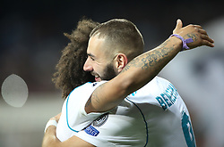 May 1, 2018 - Madrid, Spain - Real Madrid's French forward Karim Benzema (R) celebrates with Real Madrid's Brazilian defender Marcelo after scoring a second goal during the UEFA Champions League semi-final second leg football match between Real Madrid and Bayern Munich at the Santiago Bernabeu Stadium in Madrid on May 1, 2018. (Credit Image: © Raddad Jebarah/NurPhoto via ZUMA Press)