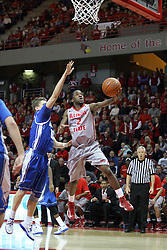 02 January 2013:  Bryant Allen sails in with a layup during an NCAA Missouri Vally Conference (MVC) mens basketball game between the Creighton University Bluejays and the Illinois State Redbirds in Redbird Arena, Normal IL