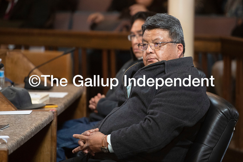 Council Delegate Edmund Yazzie in the Navajo Nation Council Chambers Monday, Jan. 27 on the first day of the Navajo Nation Council Winter Session in Window Rock, Arizona.