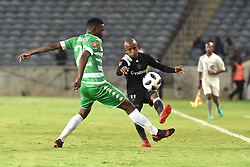 Luvuyo Memela of Orlando Pirates battle for the ball with Tshepo Rikhotso of Bloemfontein Celtic during the ABSA premiership league at Orlando stadium, Soweto.<br />Picture: Itumeleng English/ African News Agency /ANA<br />04.04.2018