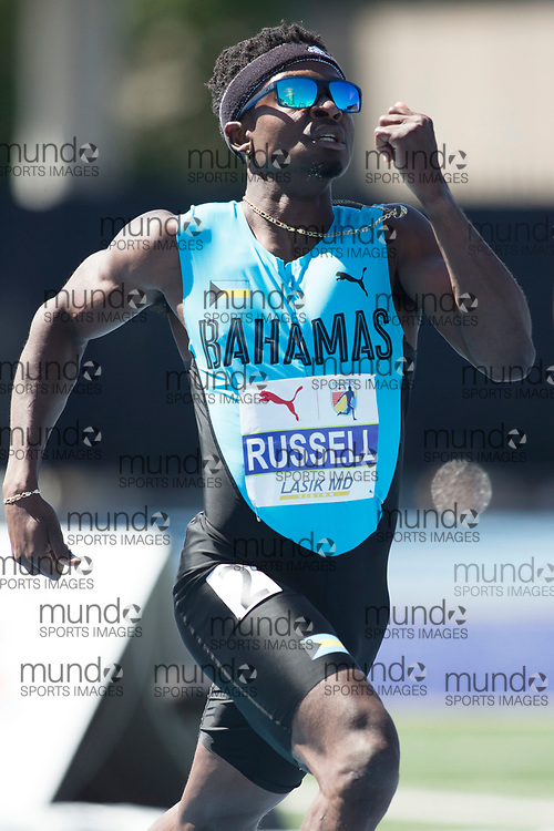 Toronto, ON -- 10 August 2018: Alonzo Russell (Bahamas), 400m semi-final at the 2018 North America, Central America, and Caribbean Athletics Association (NACAC) Track and Field Championships held at Varsity Stadium, Toronto, Canada. (Photo by Sean Burges / Mundo Sport Images).
