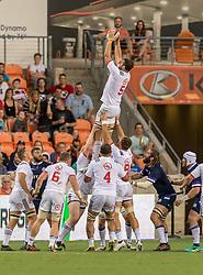June 16, 2018 - Houston, Texas, US - USA Men's Rugby Team lock Nick Civetta (5) catches the line out during the Emirates Summer Series 2018 match between USA Men's Team vs Scotland Men's Team at BBVA Compass Stadium, Houston, Texas (Credit Image: © Maria Lysaker via ZUMA Wire)