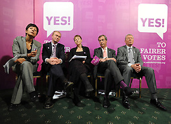 © licensed to London News Pictures. LONDON UK. 27/04/11. A News conference held today (27 April 2011) in Church House, London. The conference was introduced by (L-R) Katie Ghose with Lib Dem President Tim Farron, Green Party Leader Caroline Lucas, UKIP leader Nigel Farage and  Labour's  Alan Johnson, supporting a Yes for the Alternative Vote. Photo credit should read Stephen Simpson/LNP