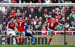 Ben Gibson of Middlesbrough clears the ball off the line - Mandatory by-line: Robbie Stephenson/JMP - 19/03/2017 - FOOTBALL - Riverside Stadium - Middlesbrough, England - Middlesbrough v Manchester United - Premier League