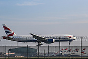 A British Airlines plane is seen landing at Heathrow Cargo centre runway 27L on Thursday, April 16, 2020. <br /> With passenger travel set to fall 90% in April, the UK air hub is prioritising cargo, especially medical supplies. The number of cargo-only flights at Heathrow has surged to five times normal levels, with the airport now saying it is prioritising medical supplies as passenger travel grinds to a halt. (Photo/Vudi Xhymshiti)