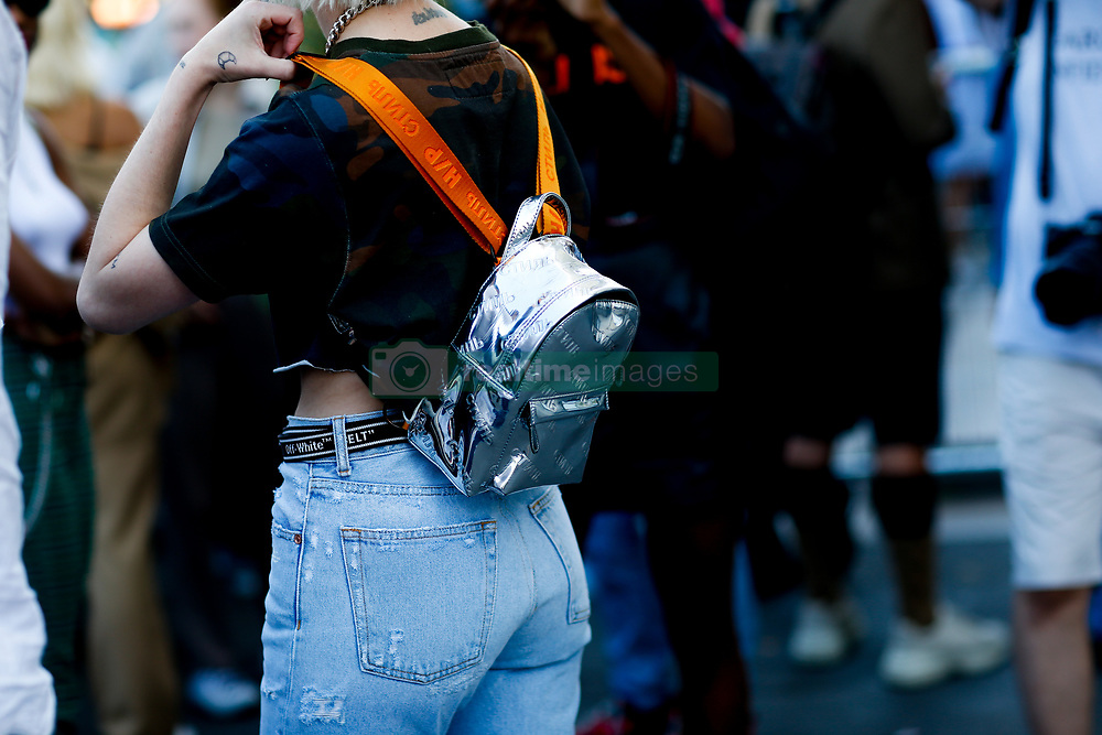 Street style, close up at Off White Spring-Summer 2019 menswear show held at Palais de Chaillot, in Paris, France, on June 20th, 2018. Photo by Marie-Paola Bertrand-Hillion/ABACAPRESS.COM