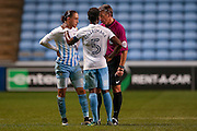 Tonights referee Mark Haywood  has a word with Coventry City midfielder Jodi Jones (10) during the The FA Cup match between Coventry City and Morecambe at the Ricoh Arena, Coventry, England on 15 November 2016. Photo by Simon Davies.