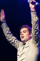 licensed to London News Pictures. London, UK. 13th August 2011. Artist Joe McElderry performs at 2011 Brighton Pride. Please see special instructions for usage rates. Photo credit should read Jules Mattsson/LNP