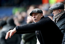 """A Tottenham Hotspur fan mimics Swansea City fans as they shout """"Cheat"""" and """"Diver"""" whilst Tottenham Hotspur's Dele Alli comes on as substitute during the Emirates FA Cup, quarter final match at the Liberty Stadium, Swansea."""