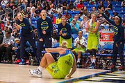 The Dallas Wings bench cheers for teammate Erin Phillips after making a basket against the Connecticut Sun during a WNBA preseason game in Arlington, Texas on May 8, 2016.  (Cooper Neill for The New York Times)