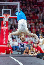 NORMAL, IL - February 16: Gamma Phi Circus troupe tumbler during a college basketball game between the ISU Redbirds and the Bradley Braves on February 16 2019 at Redbird Arena in Normal, IL. (Photo by Alan Look)