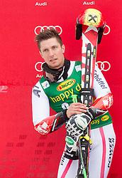 Second placed HIRSCHER Marcel of Austria at trophy ceremony after the 2nd Run of 7th Men's Giant Slalom - Pokal Vitranc 2013 of FIS Alpine Ski World Cup 2012/2013, on March 9, 2013 in Vitranc, Kranjska Gora, Slovenia. (Photo By Vid Ponikvar / Sportida.com)