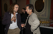 Jamie Byng and Blake Morrison. Party for Bret Easton Ellis's book 'Lunar Park'  given by Geordie Greig. Home House. Portman Sq. London.  London. 5 October 2005. . ONE TIME USE ONLY - DO NOT ARCHIVE © Copyright Photograph by Dafydd Jones 66 Stockwell Park Rd. London SW9 0DA Tel 020 7733 0108 www.dafjones.com