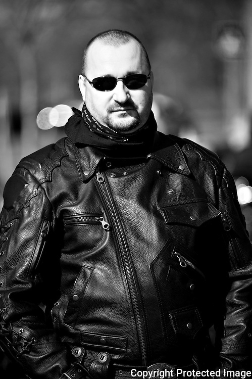 """On image Méh Attila. Member of the right-wing extremist group Gòj Motorosok in Hungary.<br /> <br /> They are a smaller organization than """"The Hungarian Guard"""" and operate with low profile. However, they have taken over the leadership in one of the theatres in Budapest. They are not associated with any government party in Hungary. On one of the national days in Hungary in March 2012, they had their own """"parade"""" riding their motorbikes around in the city of Budapest. They claimed themselves that they did not do this to get public attention. The photographer got the oppurtunity to meet them over a very short period of time privat."""