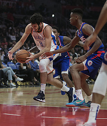 October 19, 2018 - Los Angeles, California, U.S - Alex Abrines #8 of the Oklahoma Thunder drives to the basket during their NBA game with the Los Angeles Clippers  on Friday October 19, 2018 at the Staples Center in Los Angeles, California. Clippers defeat Thunder, 108-92. (Credit Image: © Prensa Internacional via ZUMA Wire)