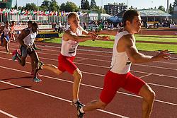 mens' 4x100 meter relay heat 1, Poland first exchange