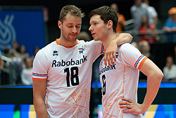 11-08-2019 NED: FIVB Tokyo Volleyball Qualification 2019 / Netherlands - USA, Rotterdam<br /> Final match pool B in hall Ahoy between Netherlands vs. United States (1-3) and Olympic ticket  for USA / Robbert Andringa #18 of Netherlands, Just Dronkers #6 of Netherlands