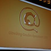 NLD/Hilversum/20110208 - Prins Willem Alexander aanwezig bij de Gouden Apenstaarten 2011, Logo Gouden Apenstaart