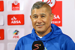 Johnson Cavin, Head Coach, of Platinum Stars during the 2016 Premier Soccer League match between Chippa United and Platinum Stars held at the Nelson Mandela Bay Stadium in Port Elizabeth, South Africa on the 28th October 2016<br />