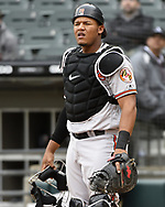 CHICAGO - MAY 01:  Pedro Severino #28 of the Baltimore Orioles catches against the Chicago White Sox on May 1, 2019 at Guaranteed Rate Field in Chicago, Illinois.  (Photo by Ron Vesely)  Subject:   Pedro Severino